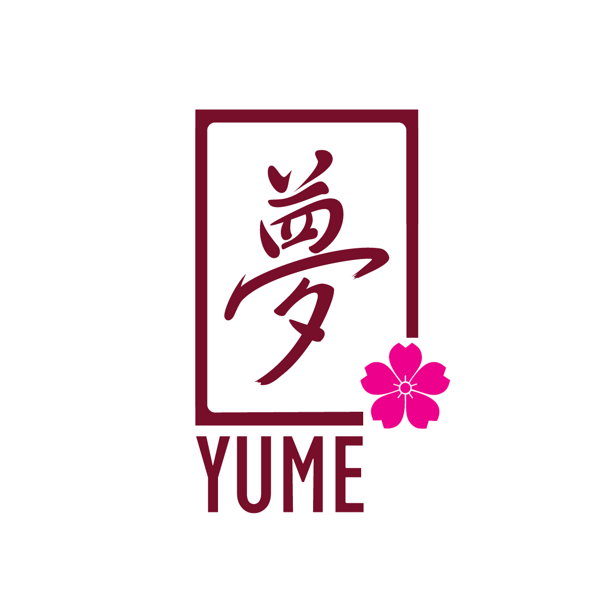 "YUME logo - with the ""yume"" kanji and a cherry blossom"